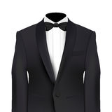 Black jacket and bow tie. Realistic vector isolated on white Royalty Free Stock Photography