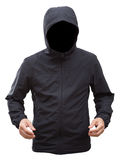 Black jacket with hood and man hands isolated on white backgroun Stock Images