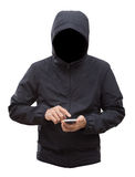 Black jacket with hood and man hands isolated on white backgroun. Black jacket with hood and men hands isolated on white background; clipping path Royalty Free Stock Photos
