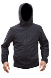 Black jacket with hood and man hands isolated on white background Stock Images