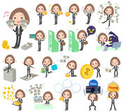 Black jacket pants business woman money. Set of various poses of Black jacket pants business woman money Royalty Free Stock Photography