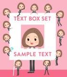 Black jacket pants business woman text box. Set of various poses of Black jacket pants business woman text box Royalty Free Stock Photos