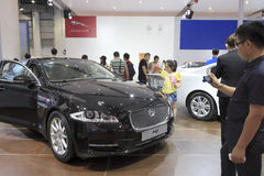 Black jaguar xj car Stock Image