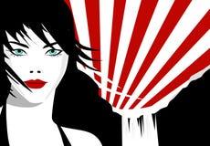 Black Japan. Model set against a japanese background vector illustration