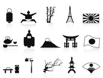 Black japanese icons set Royalty Free Stock Photography
