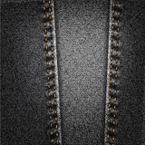 Black Jeans Denim Fabric Texture With Stitch Stock Image