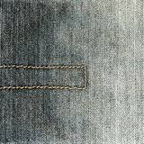 Black jeans fabric texture with seam Stock Photos