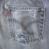 Black jeans old back pocket Royalty Free Stock Photo