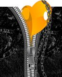 Black Jeans, Orange Heart and Chains. Vector Illustration. Royalty Free Stock Photos