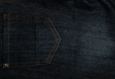 Black jeans texture. Dark cotton fabric background closeup Royalty Free Stock Photos