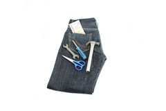Black Jeans,Tools and money. Royalty Free Stock Photos