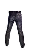 Black Jeans trousers on white background Stock Photo