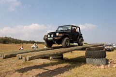 Black Jeep Wrangler on 4x4 Course Royalty Free Stock Image
