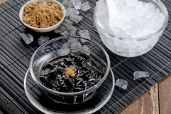 Black jelly with syrup Royalty Free Stock Photography