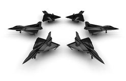 Black jet fighter circular pattern. 3D render illustration seven black jet fighters arranged in the shape of a star. The composition is isolated on a white Royalty Free Stock Images