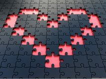 Black jigsaw heart puzzles Royalty Free Stock Photos