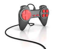 Black joystick with cable for computer game. Playing on white background Royalty Free Stock Images