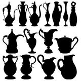 Black jugs collection Royalty Free Stock Photography