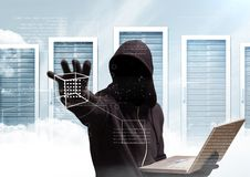 Black jumper hacker with out face sit with the computer. server background Royalty Free Stock Photo