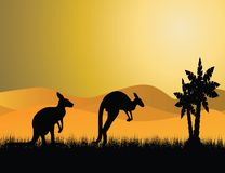 Black kangaroo silhouette Royalty Free Stock Images