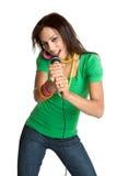 Black Karaoke Singer. Beautiful black isolated karaoke singer Royalty Free Stock Images