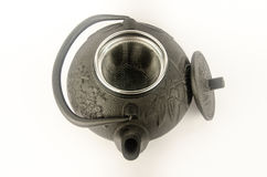 Black kettle for brewing tea. Along with a lid. From above. white background Stock Photography