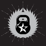 Black kettlebell on grey background with star. Vector sport labe Stock Photos