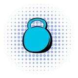 Black kettlebell icon, comics style Stock Photos