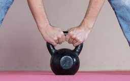 Black kettlebell ina gym Stock Photos