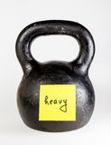 Black kettlebell with label heavy Stock Image