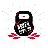 Black kettlebell on white background with motivation text - Neve. R Give Up. Motivational quote. Vector illustration with fire, lightnings and crown Stock Photos