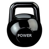 Black kettlebell with word power isolated on white background. Stock Image