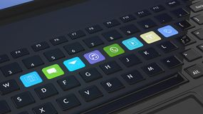 Black keyboard with apps icons Royalty Free Stock Photos
