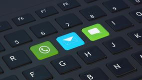 Black keyboard with apps icons Stock Image