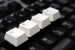 Black Keyboard, blurred, with white keys - HELP Stock Photos