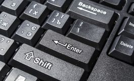 The black keyboard from the computer. Keys enter and shift. Tool. Press. Typing. stock photo