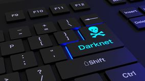 Black keyboard with glowing darknet enter key. Black keyboard where the enter key is glowing blue showing the word darknet and a skull  cybersecurity concept 3D Stock Photo