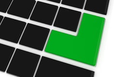 Black keyboard with green key Stock Photography