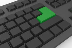 Black keyboard with green key Stock Photos