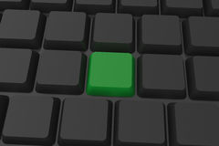Black keyboard with green key Royalty Free Stock Photography