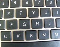Black keyboard keys on white laptop computer. Black keyboard keys on the white laptop computer Royalty Free Stock Images