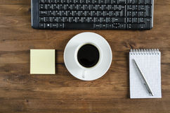 Black  keyboard, and office supplies Royalty Free Stock Photo