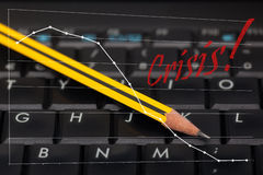 Black keyboard and pencil Royalty Free Stock Image