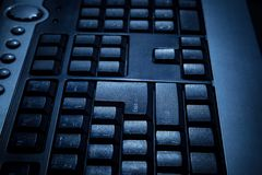 Black keyboard of a personal desktop computer with selective foc royalty free stock images