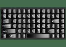 Black keyboard with text are you going crazy working in an office Vector illustration Stock Images