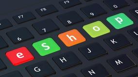 Black keyboard with word eShop Stock Image