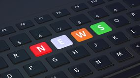 Black keyboard with word News Stock Images