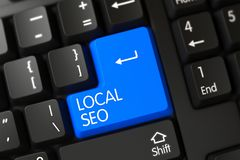 Local SEO - Computer Button. 3D. Black Keyboard with the words Local SEO on Blue Keypad. 3D Illustration Stock Image
