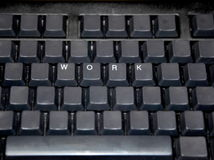 Black keyboard with work caps Royalty Free Stock Image