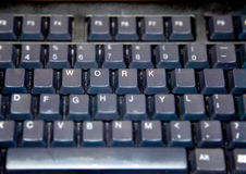 Black keyboard with work caps. And exclamation sign Royalty Free Stock Images